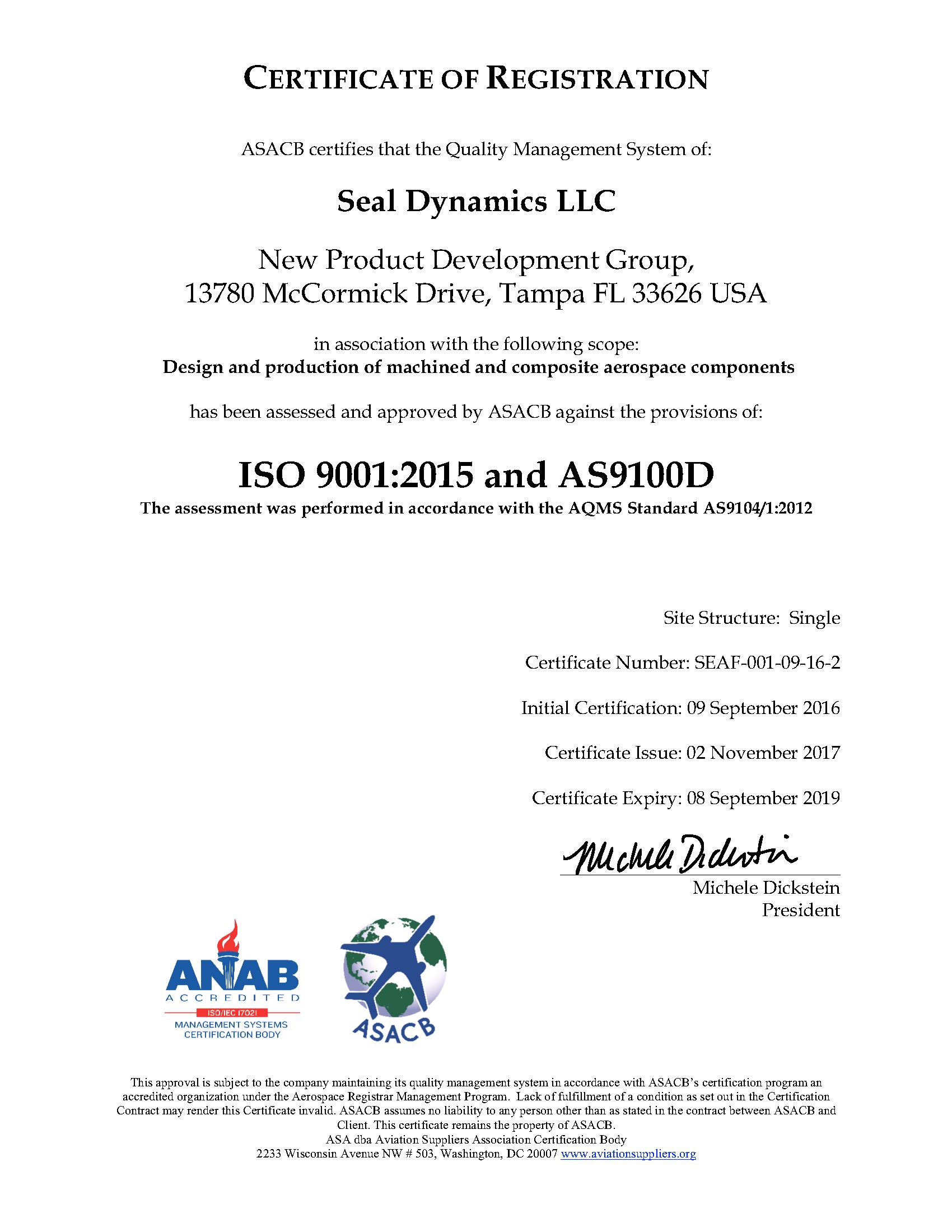 Seal Dynamics Certifications – Seal Dynamics